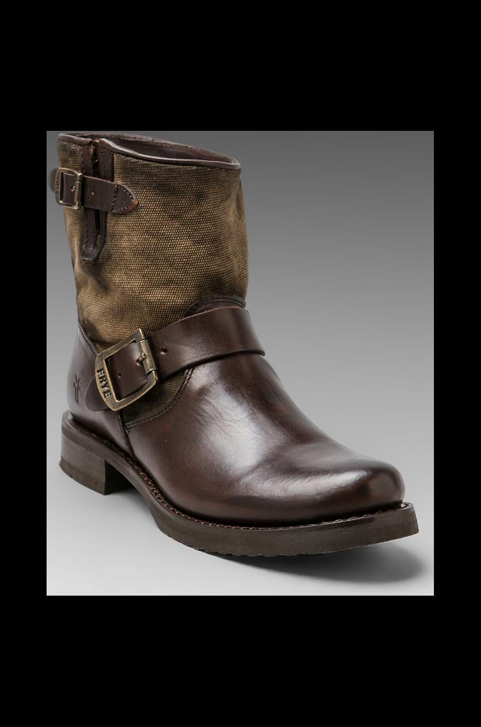 Frye Veronica Canvas Shortie Boot in Dark Brown