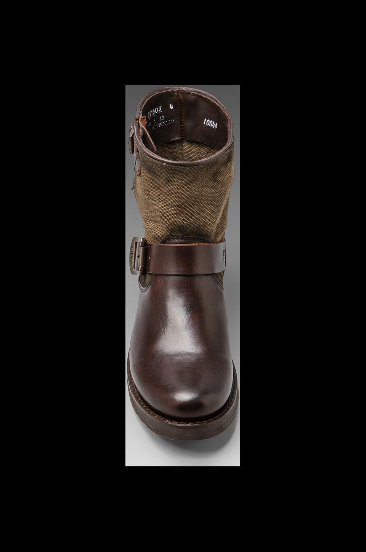 Frye Veronica Canvas Shortie Boot in Dark Brown