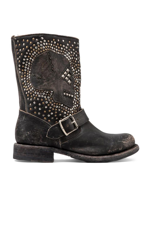 Frye Jenna Skull Stud Short Boot in Black