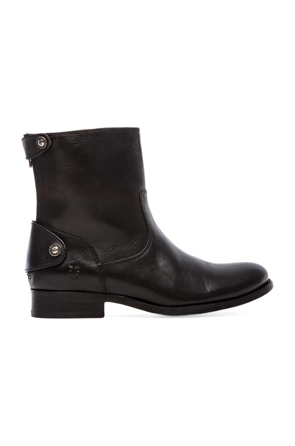 Frye Melissa Button Zip Short Boot in Black