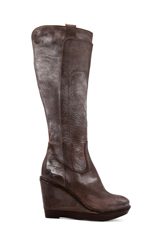Frye Paige Wedge Boot in Dark Brown
