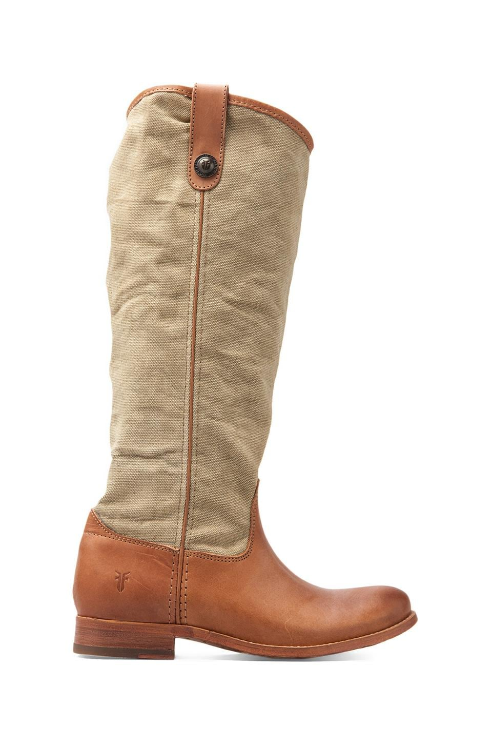 Frye Melissa Button Boot in Canvas/Veg Khaki Tan