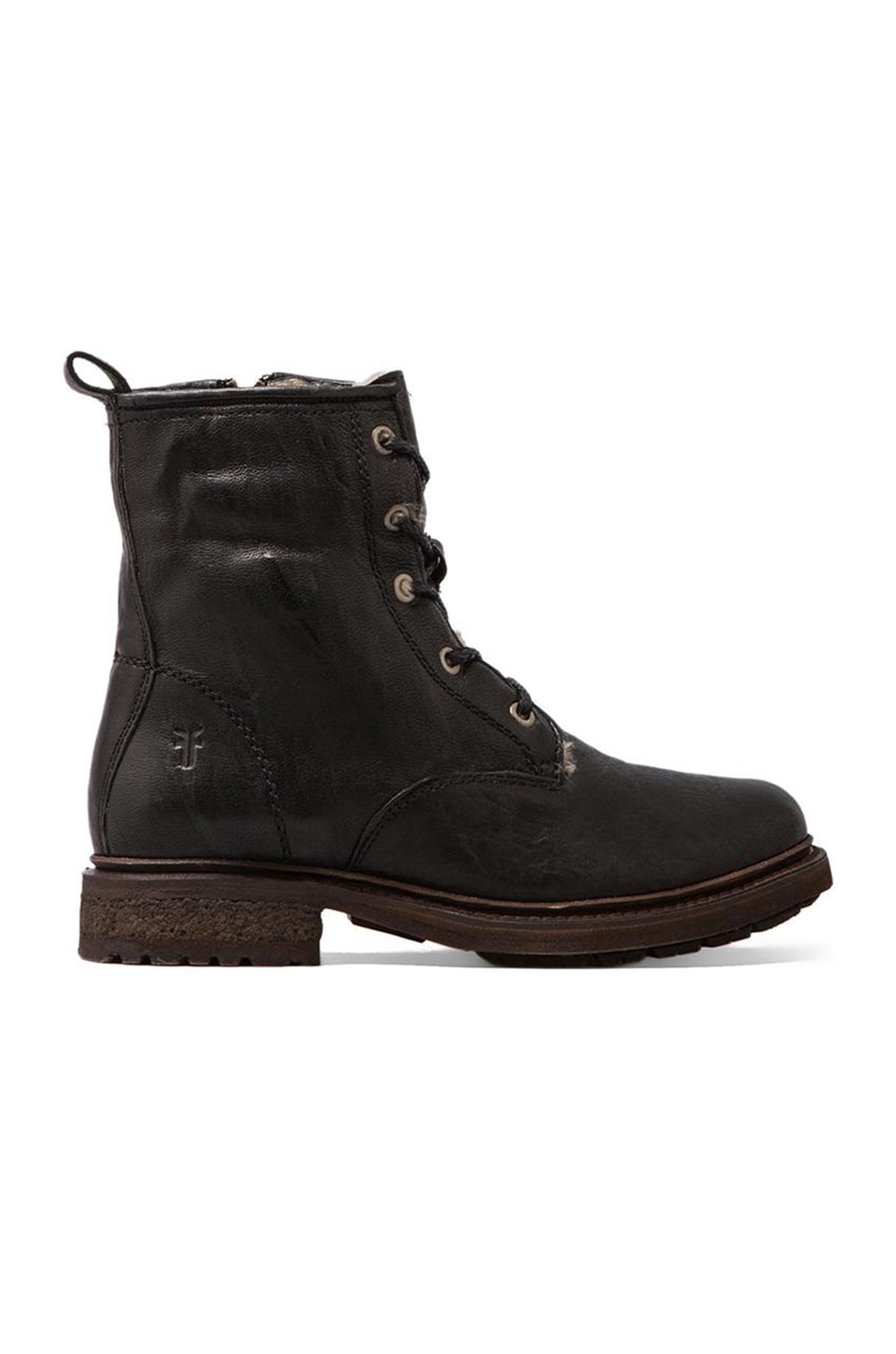 Frye Valerie Lace Up Lamb Shearling Lined Boot in Black