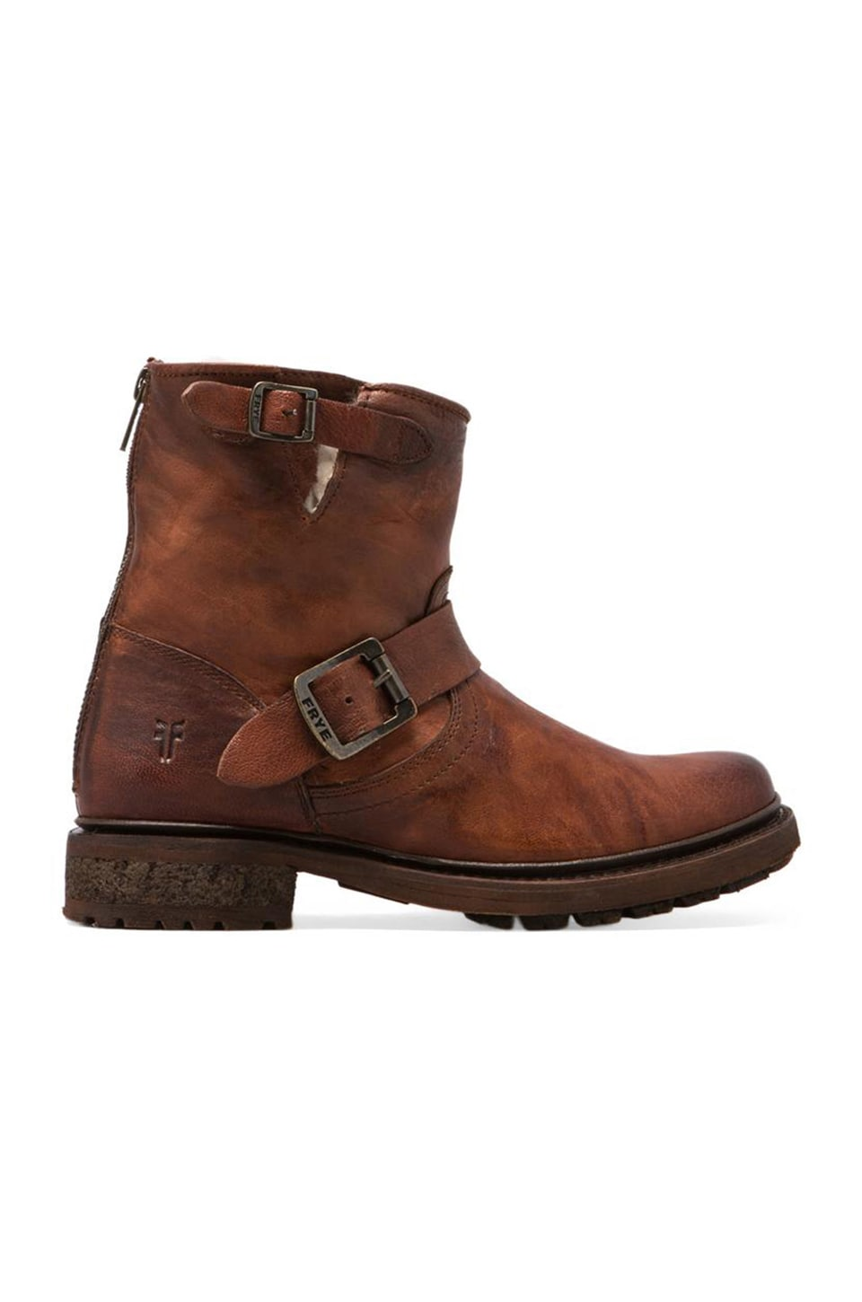 Frye Valerie 6 Motorcycle Lamb Shearling Lined Boot in Cognac