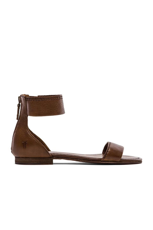 Frye Carson Ankle Zip Sandal in Cognac