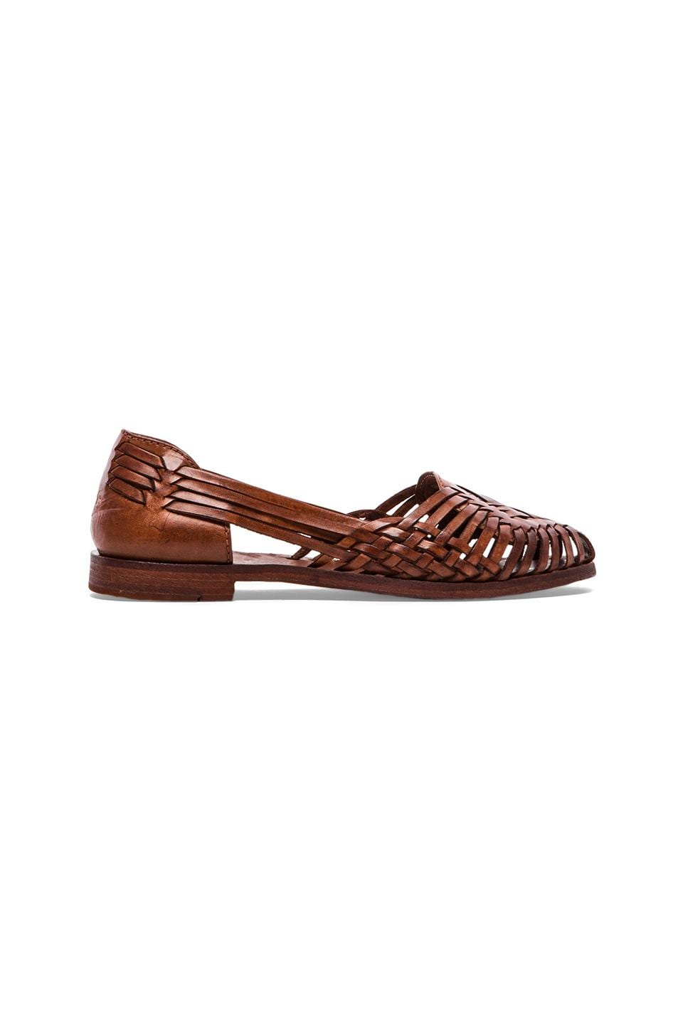 Frye Heather Huarache Flat in Cognac