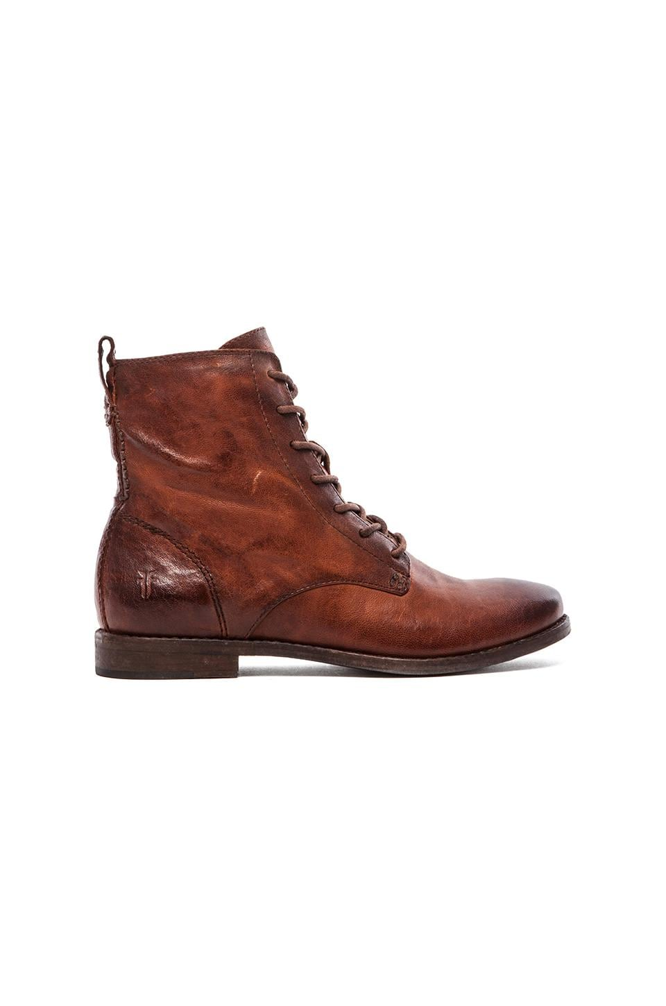Frye Anna Lace Up Boot in Cognac