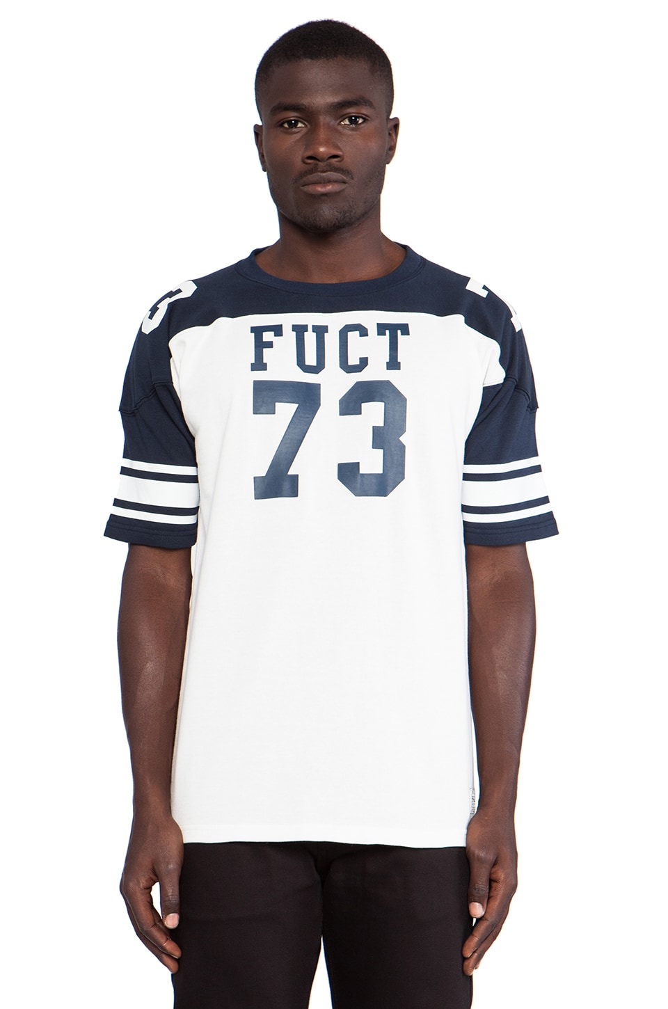 Fuct 73 Foot League Jersey in Off White/Navy