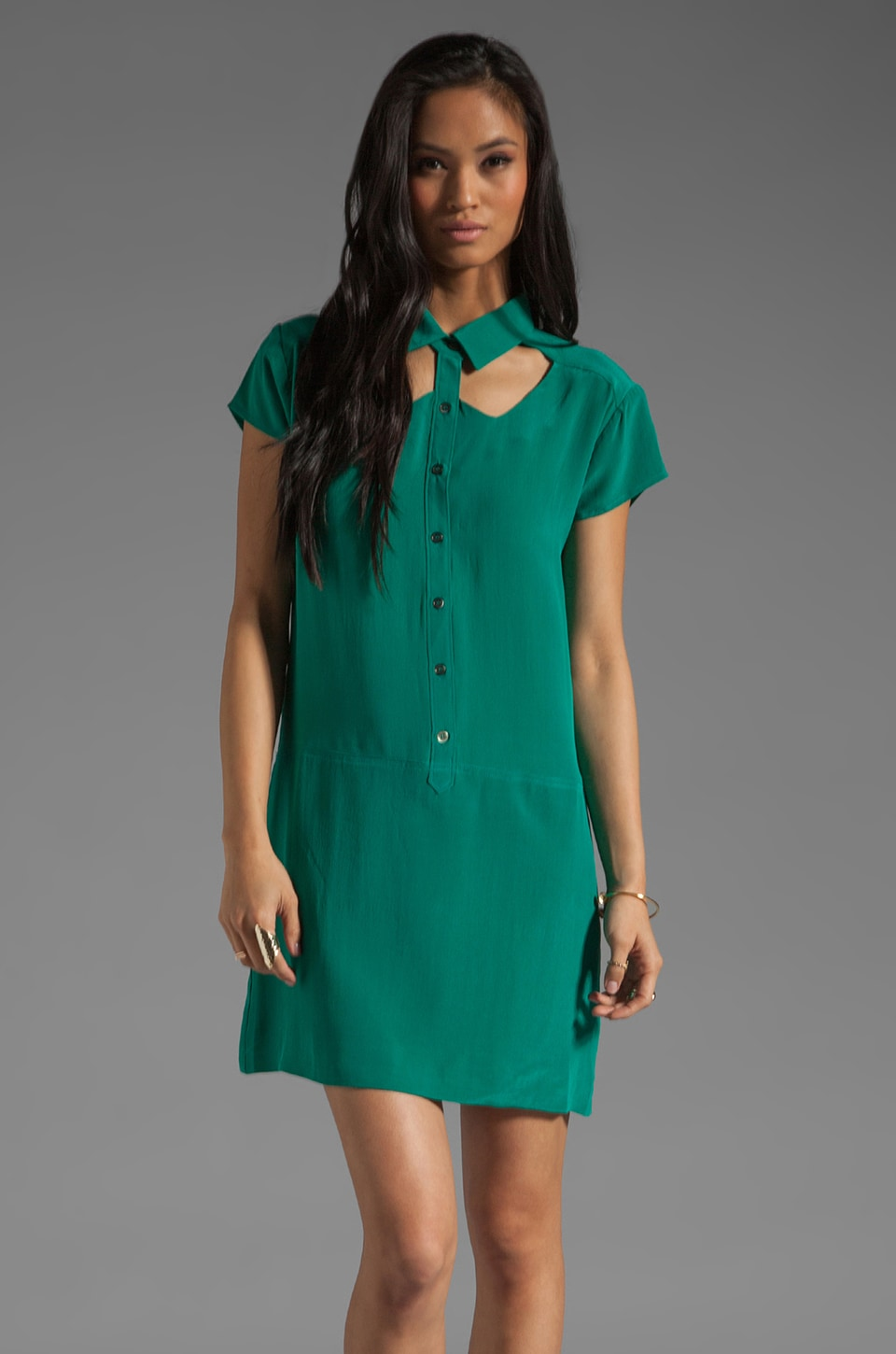 Funktional Software Cutout Collar Dress in Emerald