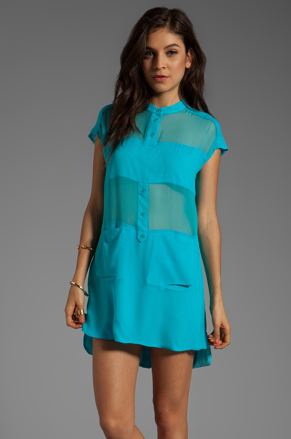 Funktional Micro Panel Silk Dress in Micro Blue