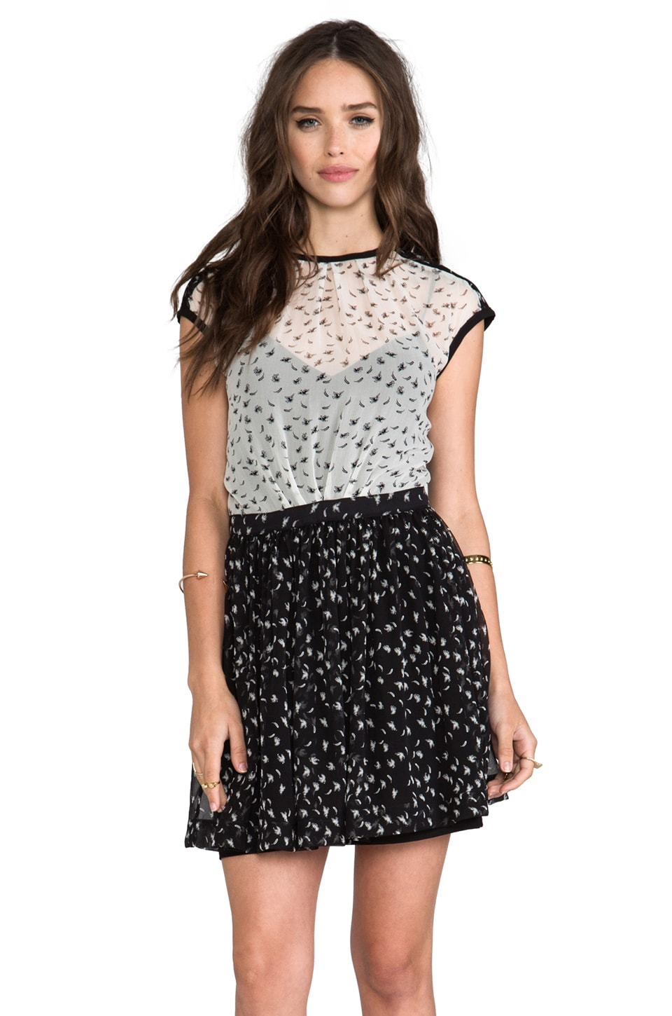 Funktional Glimmer Colorblock Print Dress in Black/White