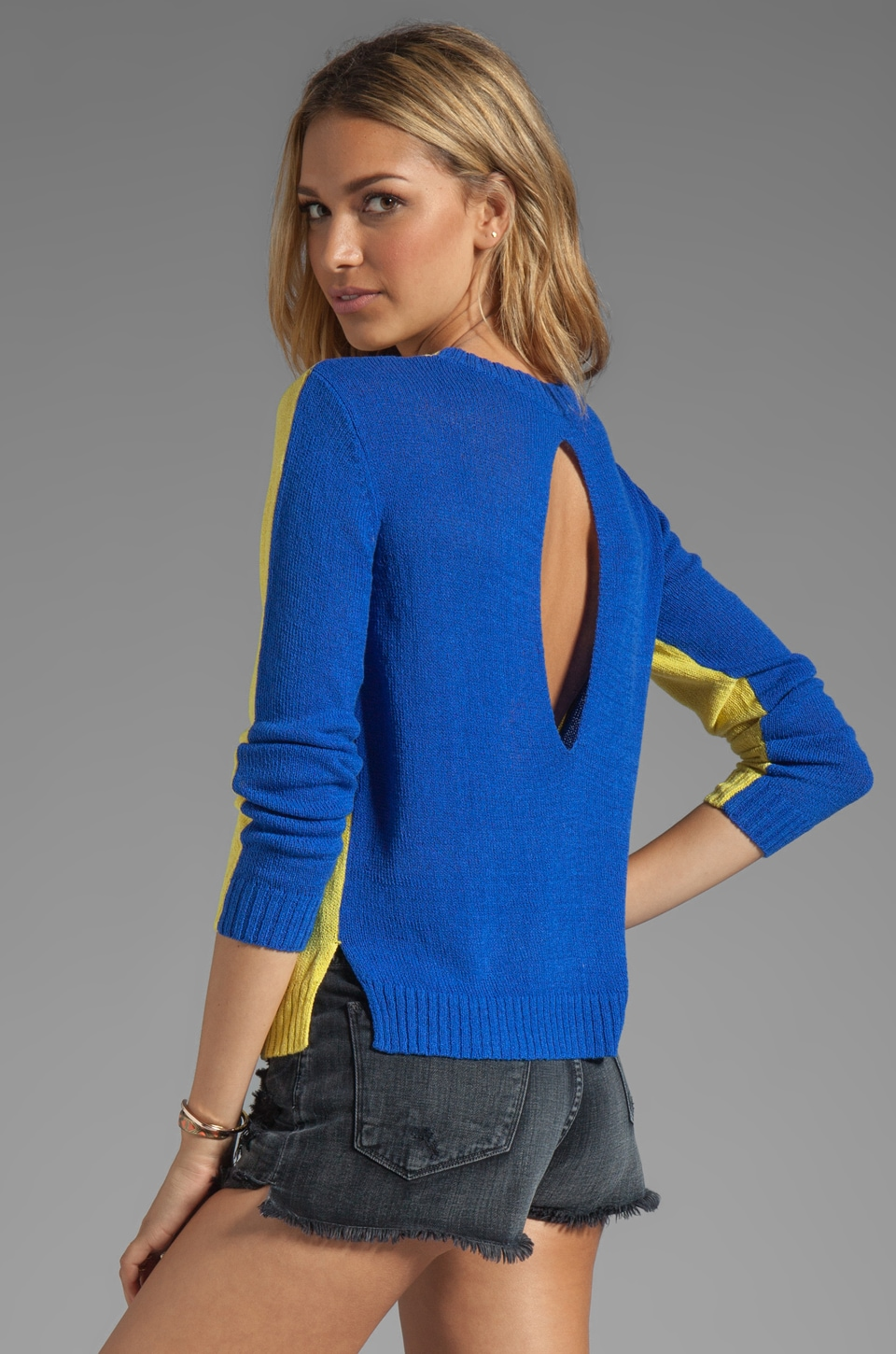 Funktional 2-Tone Sweater in Yuzu/Blue