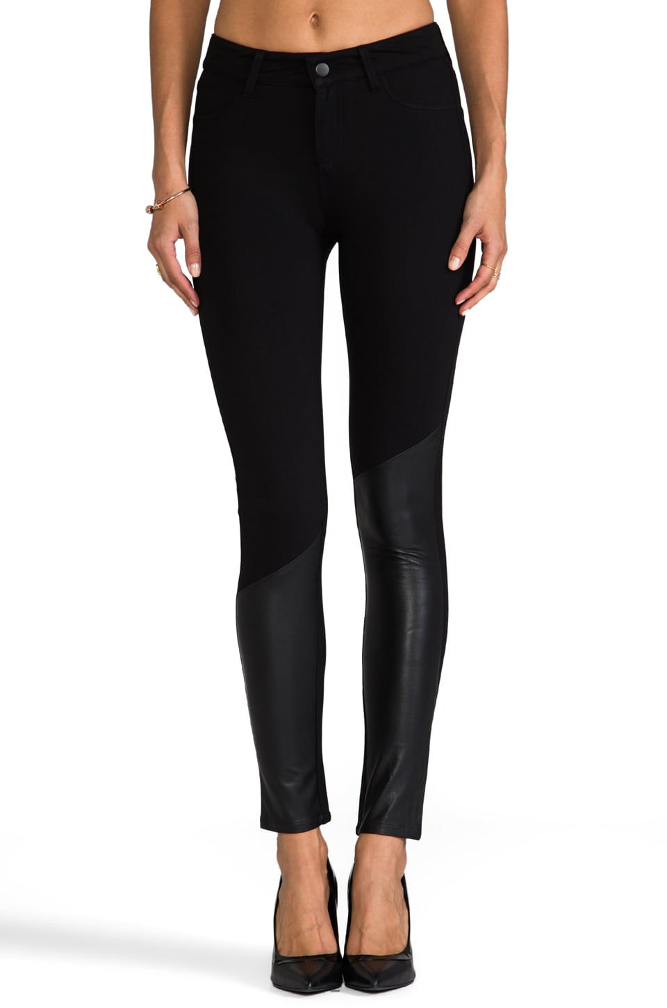 Funktional Atomic Leather Panel Skinny Pant in Black
