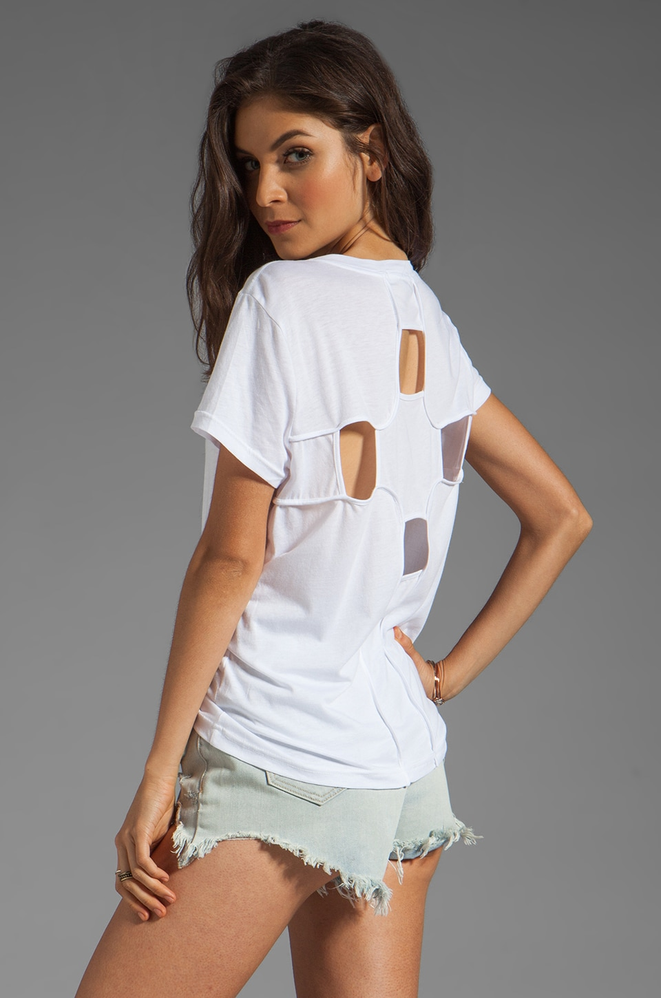 Funktional Geometric Cut Out Back Tee in White