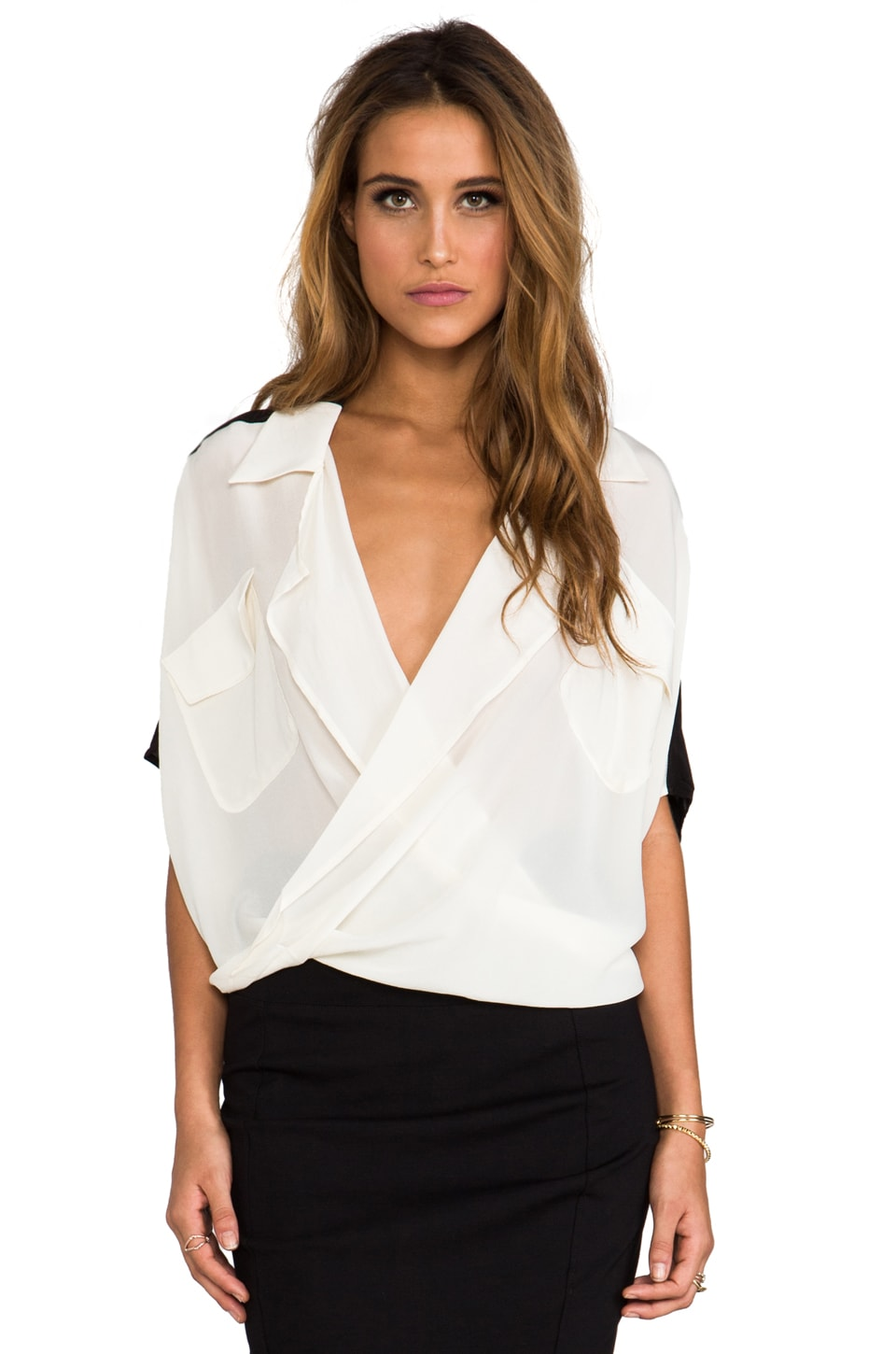 Funktional Lens 2-Tone Fold Front Blouse in Cream/Black