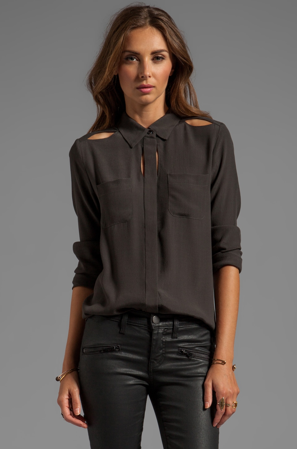 Funktional Fundamental Peek Through Shirt in Charcoal