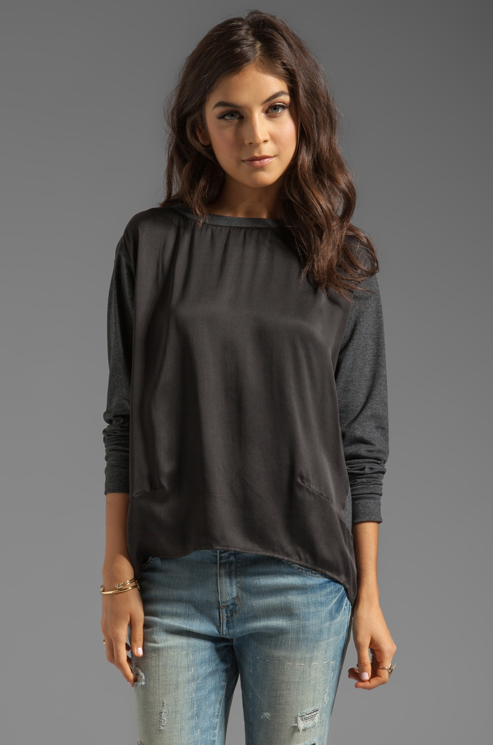 Funktional Storm Long Sleeve Contrast Silk Top in Charcoal