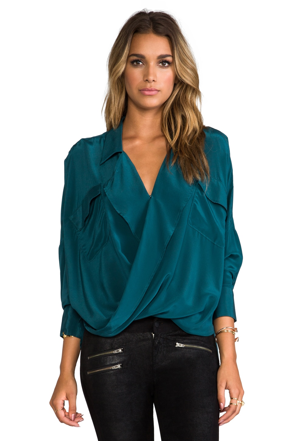 Funktional Solar Fold Front Blouse in Forest