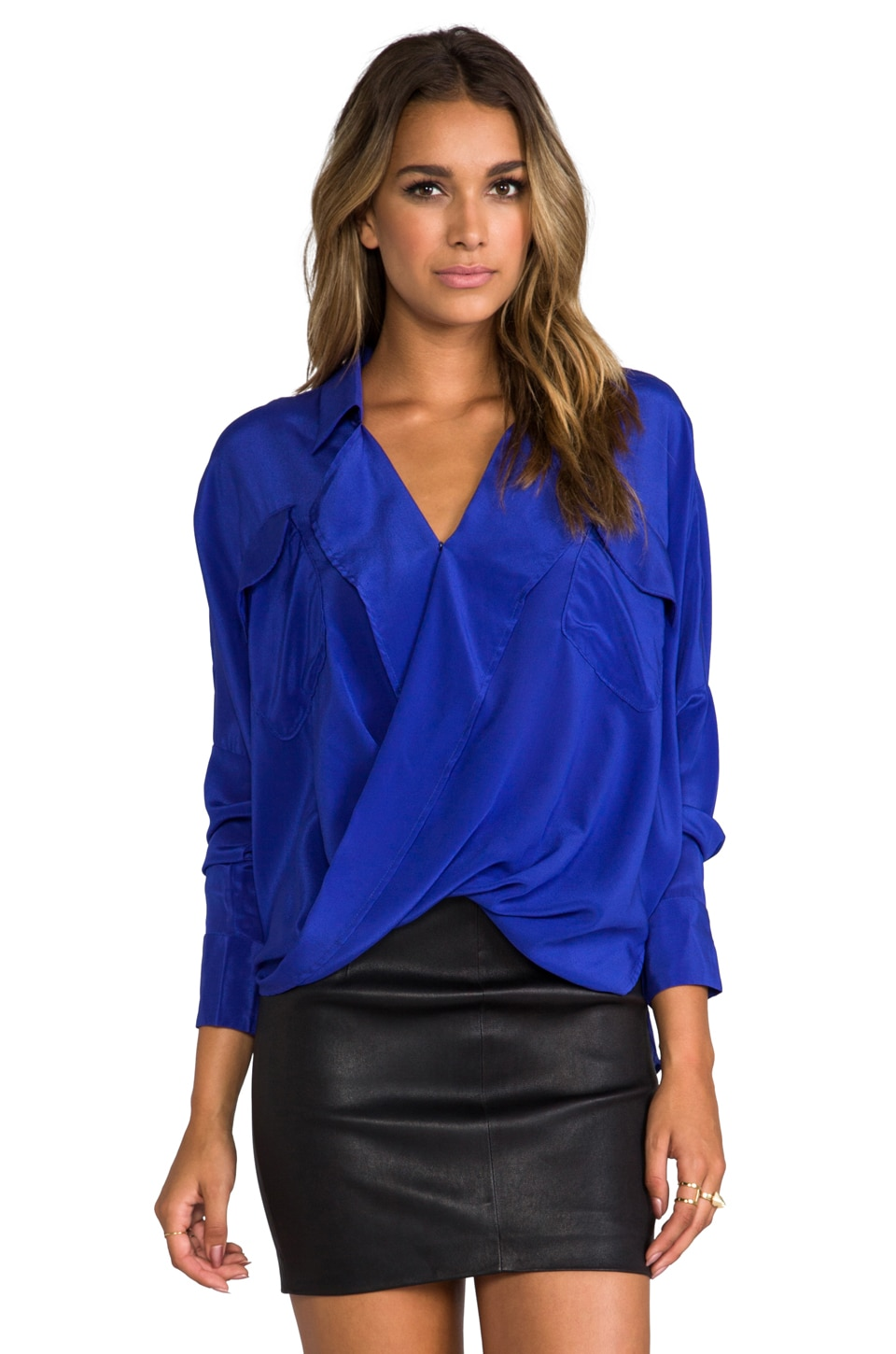 Funktional Solar Fold Front Blouse in Royal