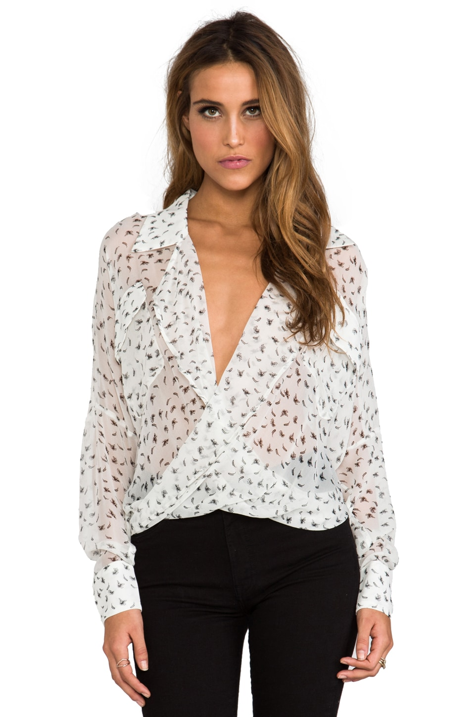 Funktional Glimmer Fold Front Blouse in White