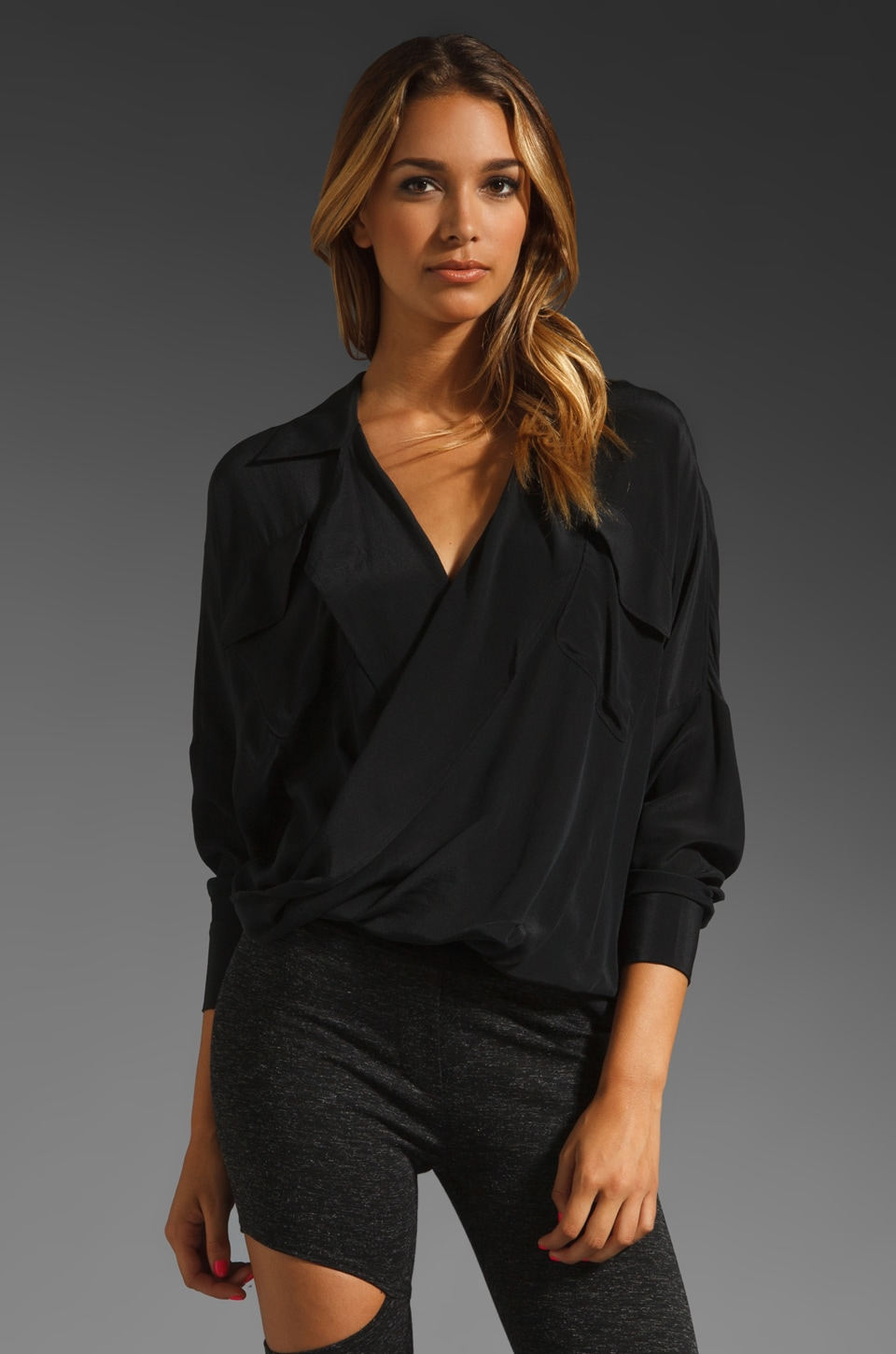 Funktional Silk-Fold Front Top in Black