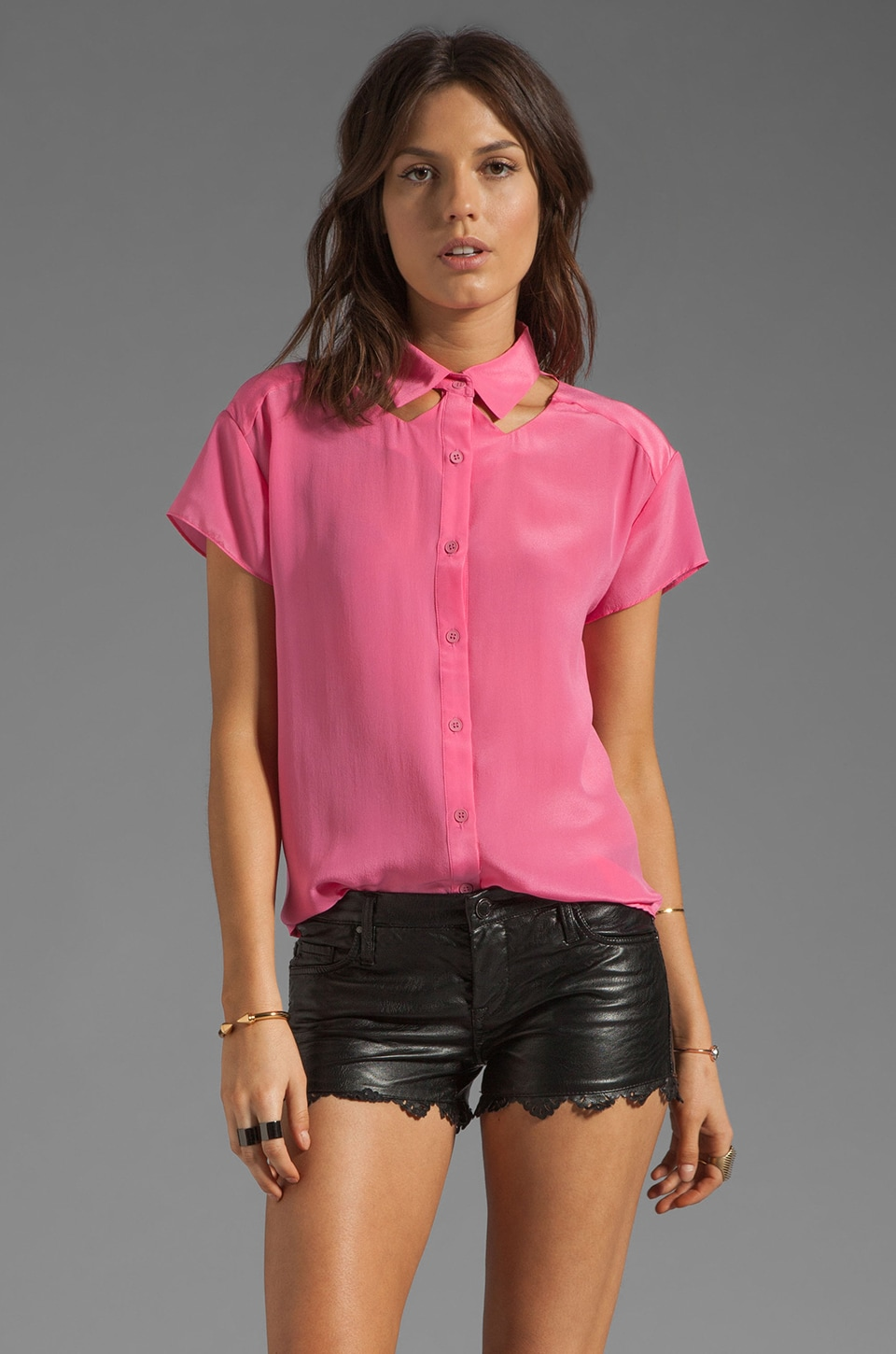 Funktional Macro Cut Out Collar Top in Pink Macro