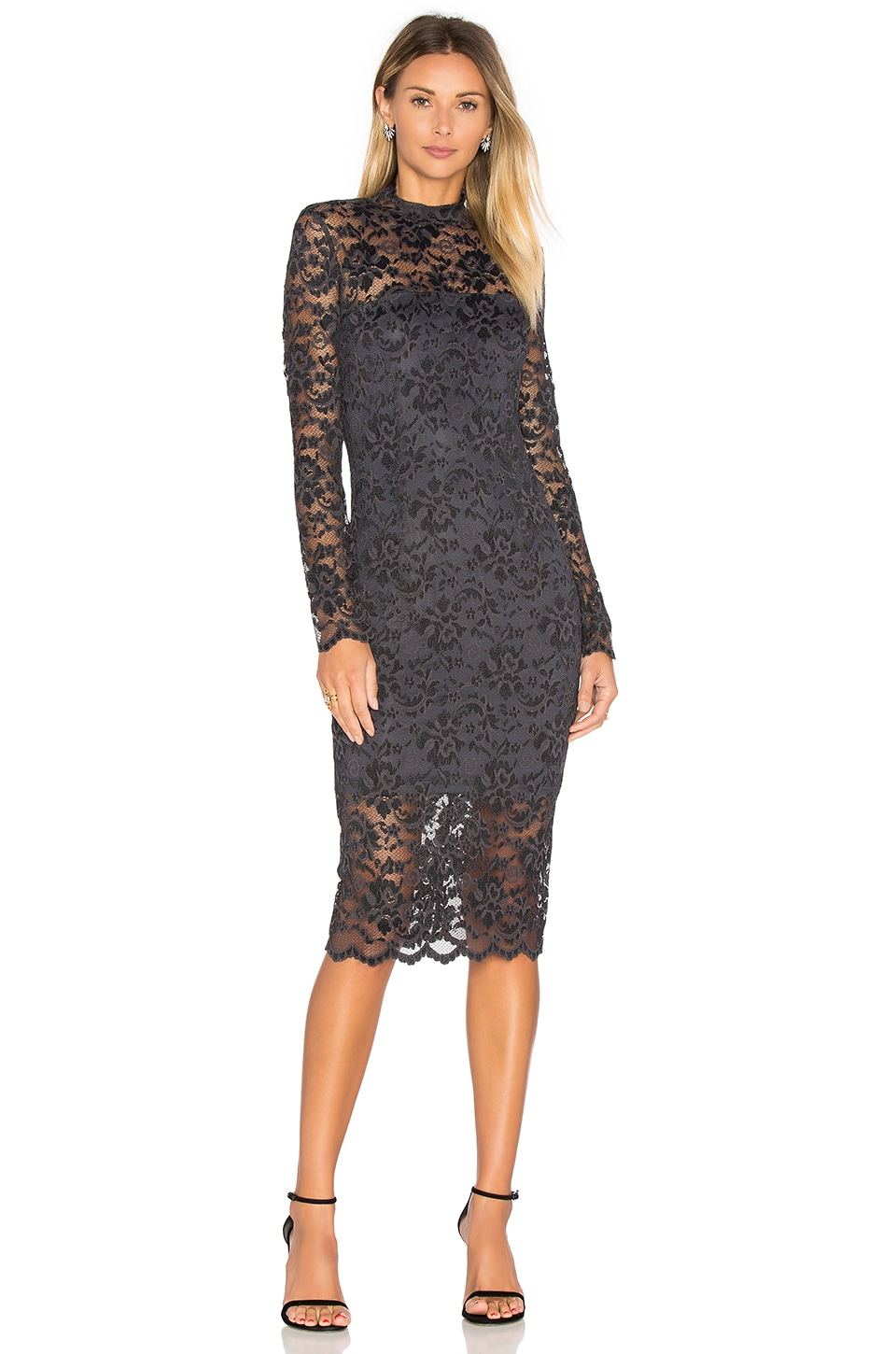 Ganni Flynn Lace Dress in Ebony & Black