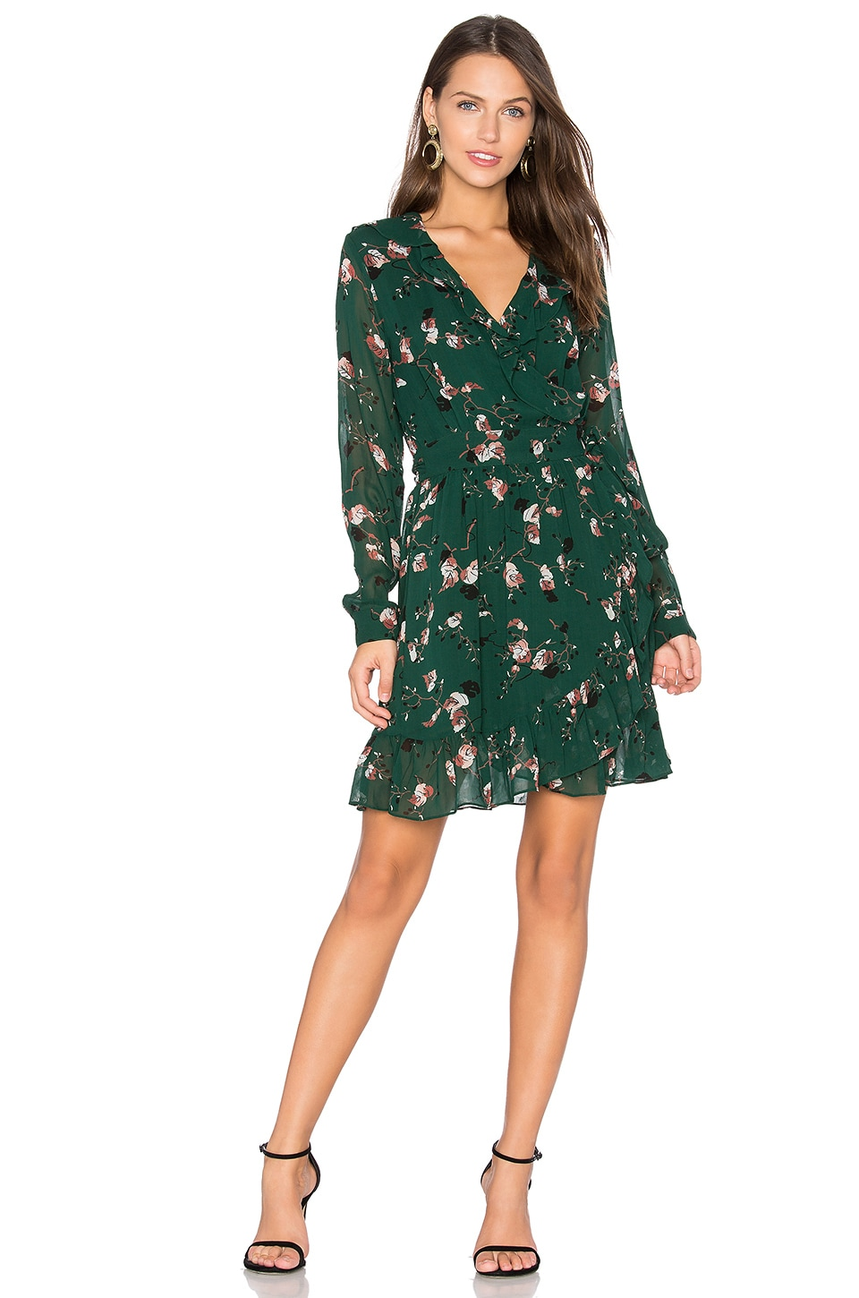 Ganni Marietta Georgette Dress in Pine Grove Leaves
