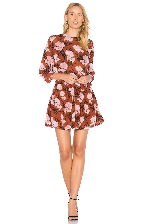 Ganni Monette Georgette Dress in Brandy Brown