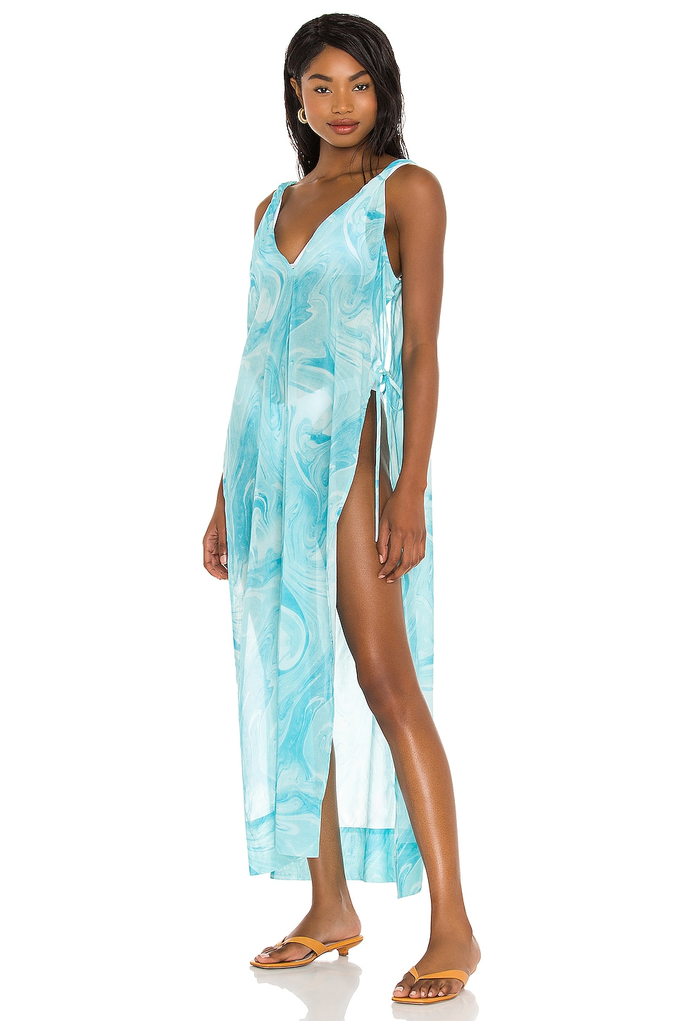 Ganni Printed Cover Up in Bachelor Blue