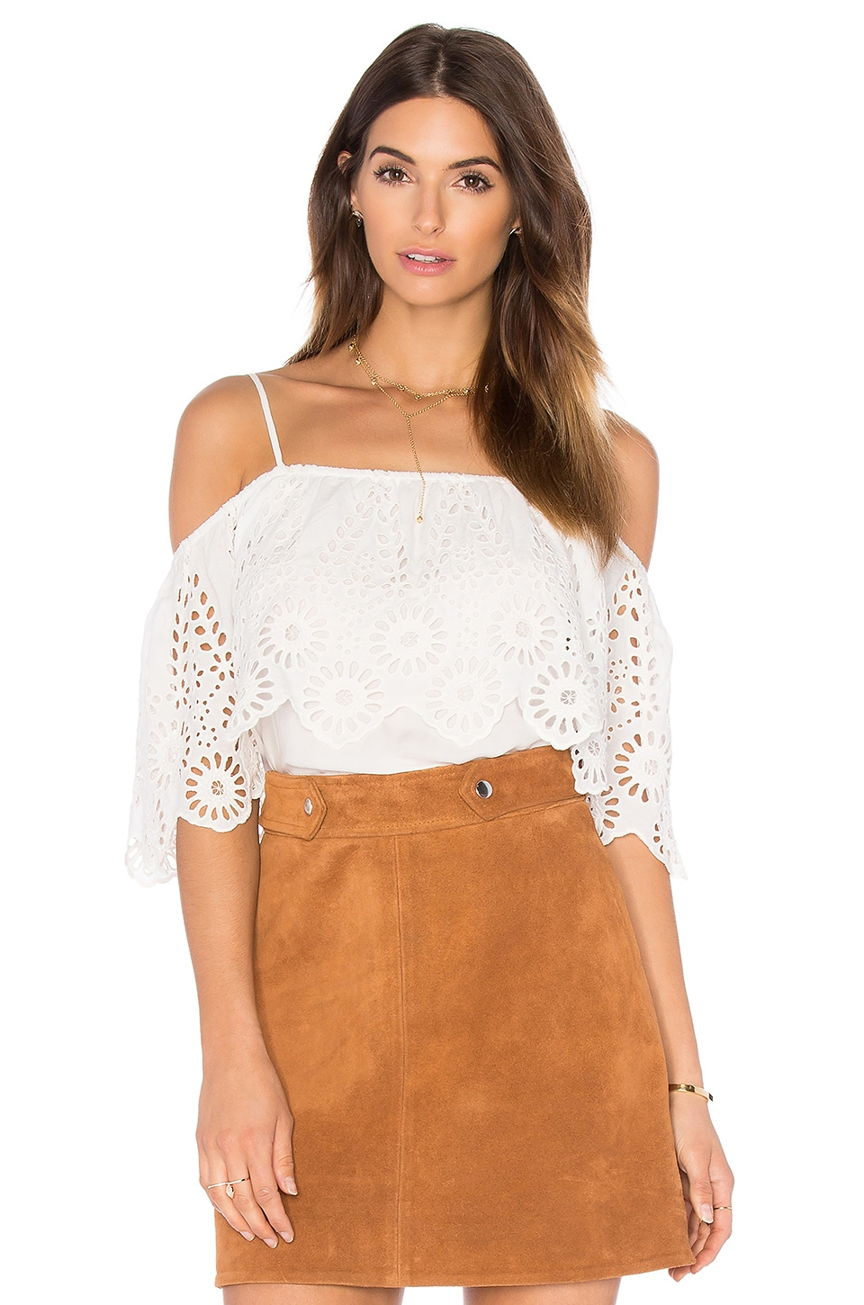 Lace Cold Shoulder Top by Ganni