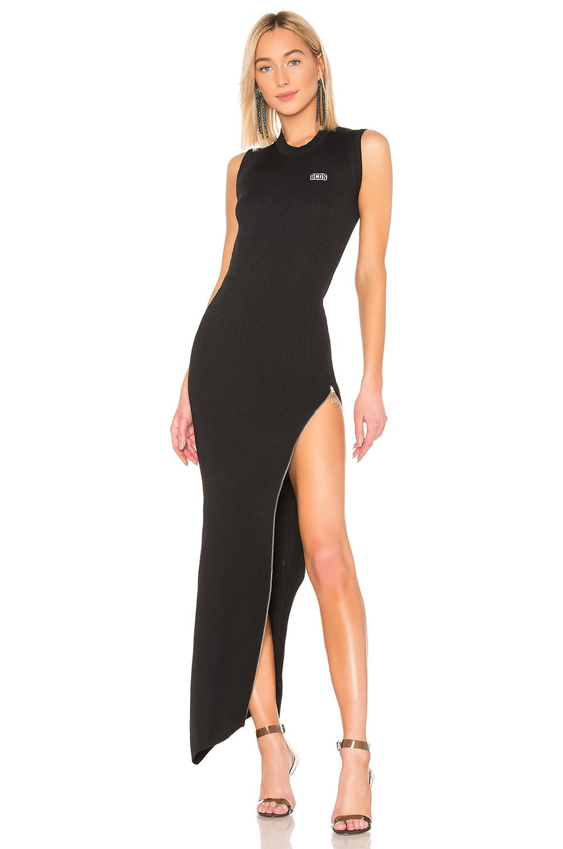 Long Asymmetrical Zip Dress