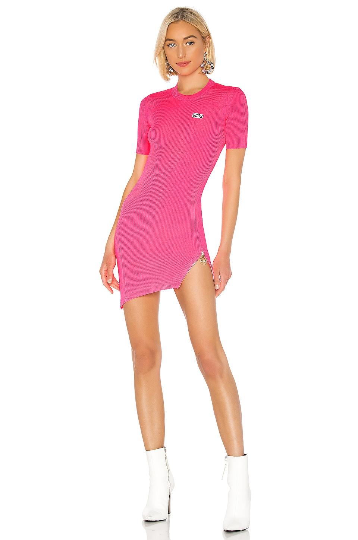 GCDS Fluorescent Asymmetrical Zip Dress in Pink