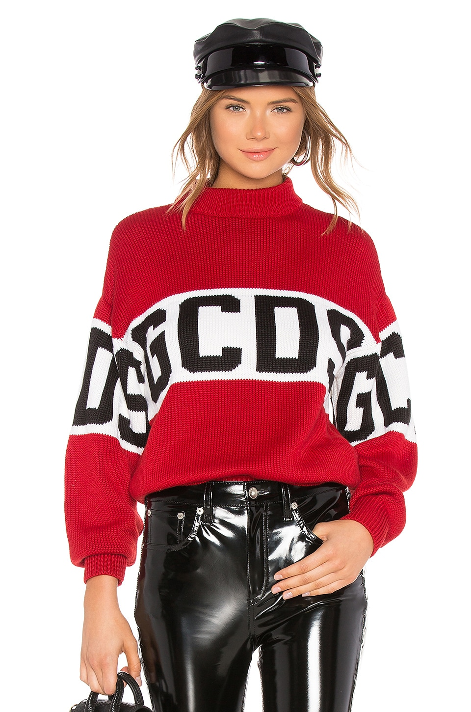 GCDS Logo Sweater in Red