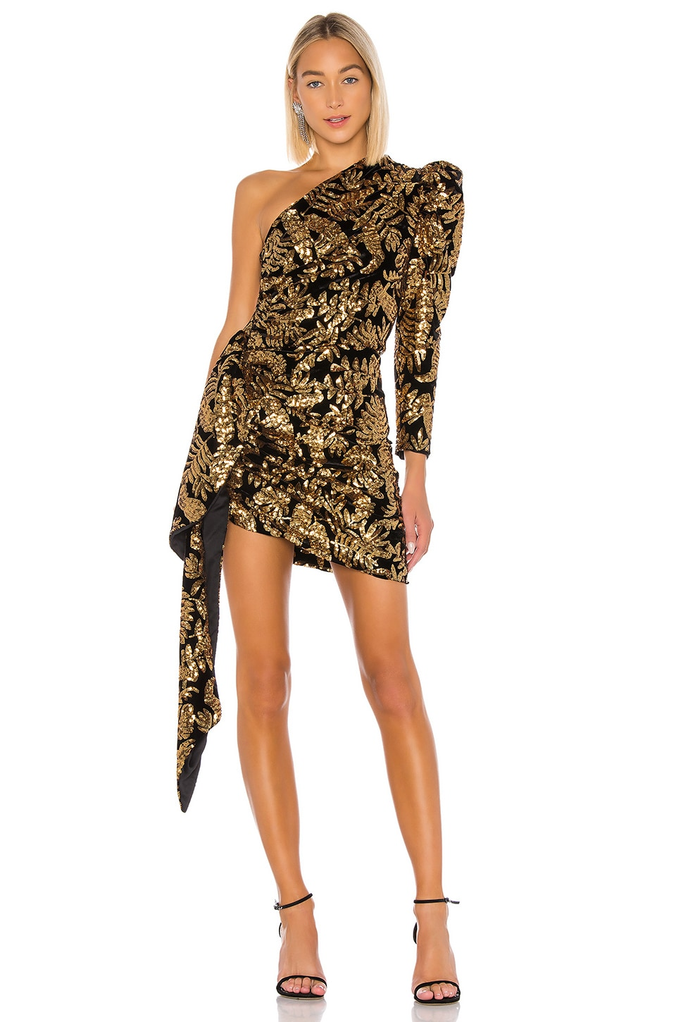 GIUSEPPE DI MORABITO One Shoulder Dress in Black & Gold