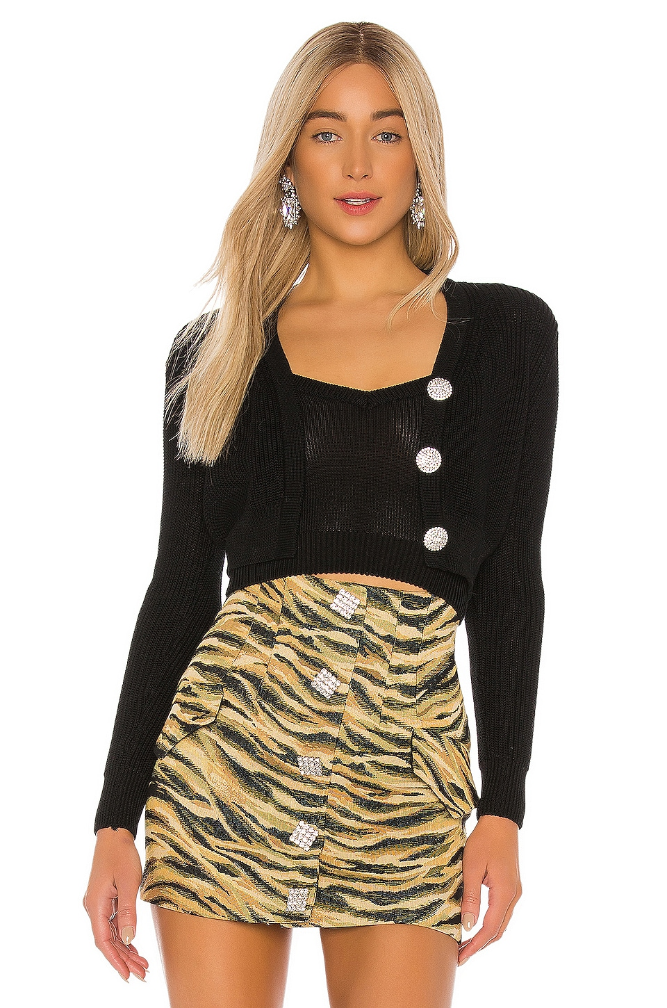 GIUSEPPE DI MORABITO Cropped Cardigan in Black