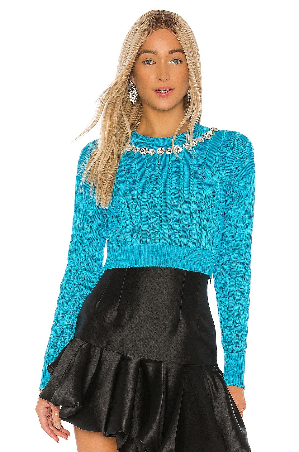 GIUSEPPE DI MORABITO Cropped Cable Knit Sweater in Light Blue