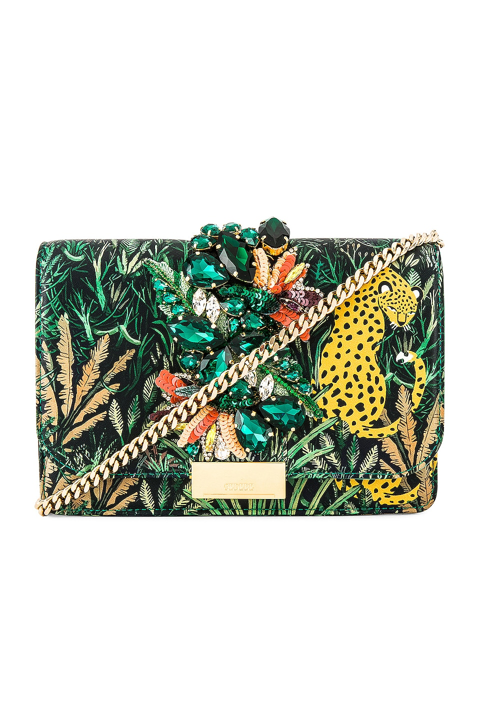 GEDEBE Cliky Clutch in Leopard Forest