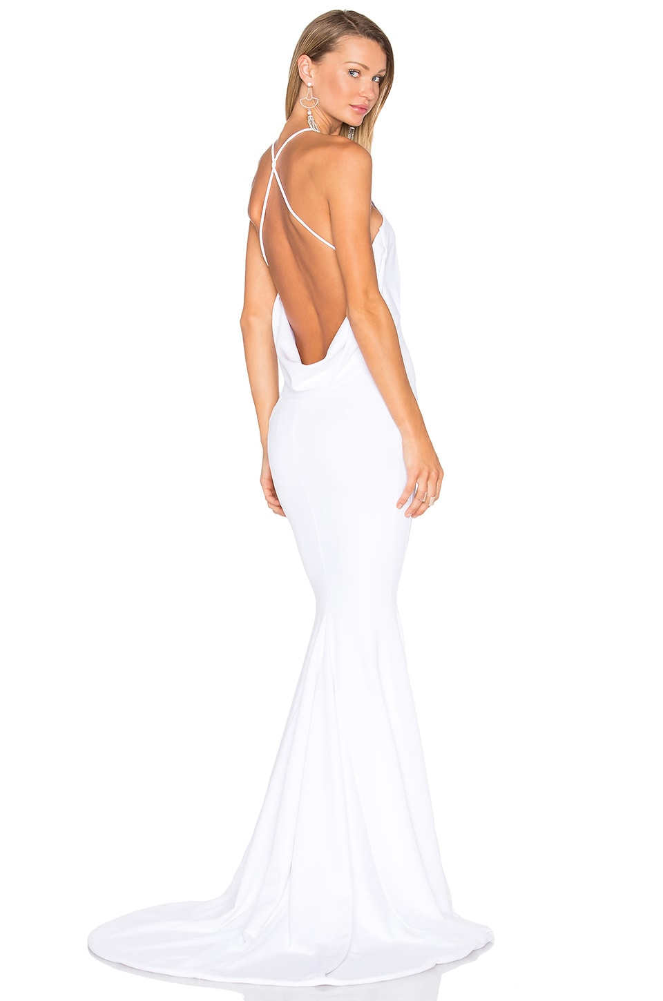 gemeli power barthelemy gown in matte crepe white revolve