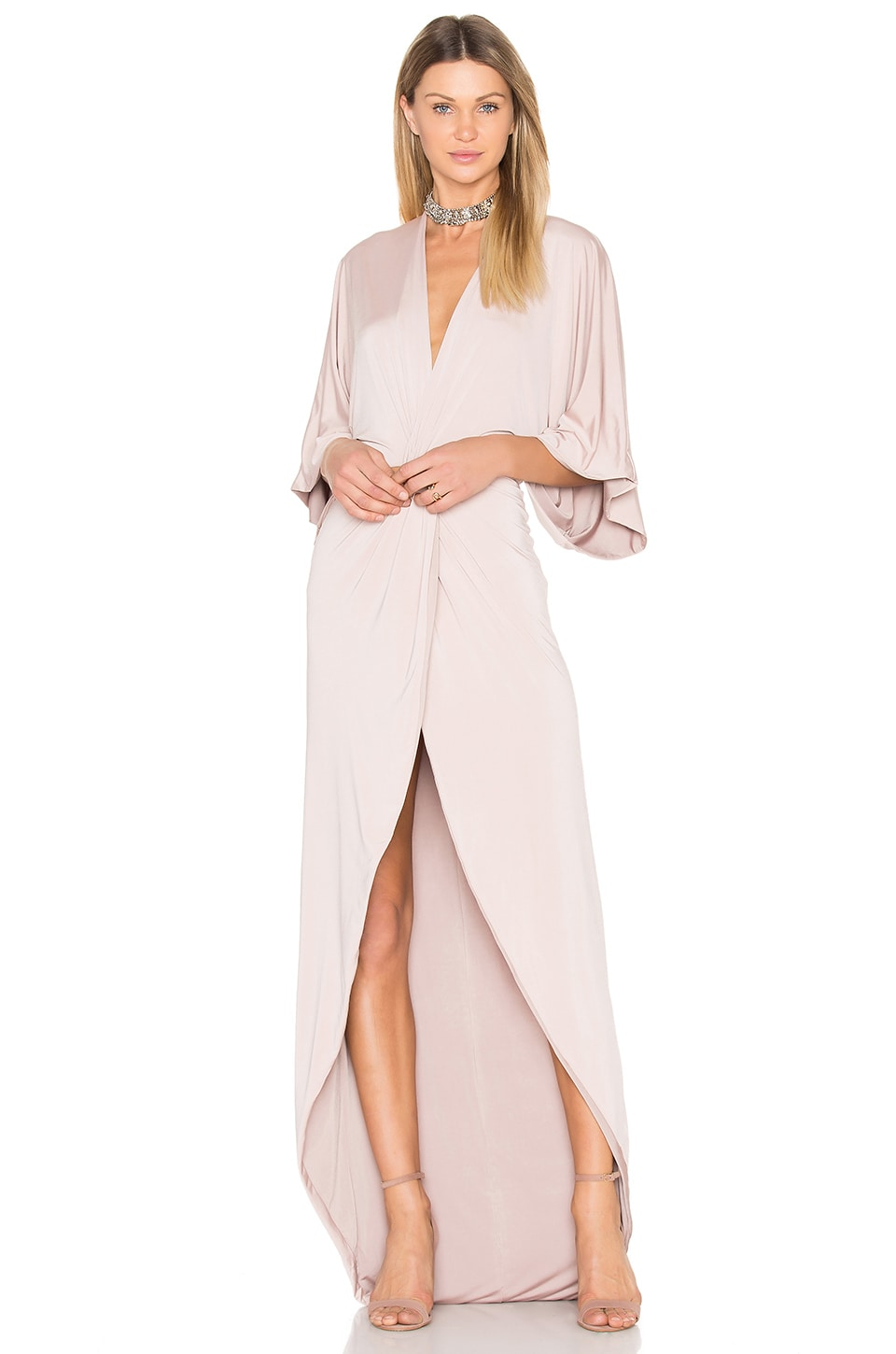 Gemeli Power Peche Robe Gown in Latte