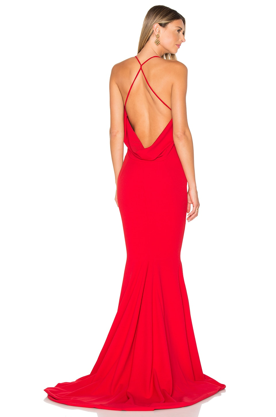 Gemeli Power Barthelemy Gown in Red Crepe