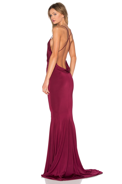 gemeli power barthelemy dress in deep burgundy revolve