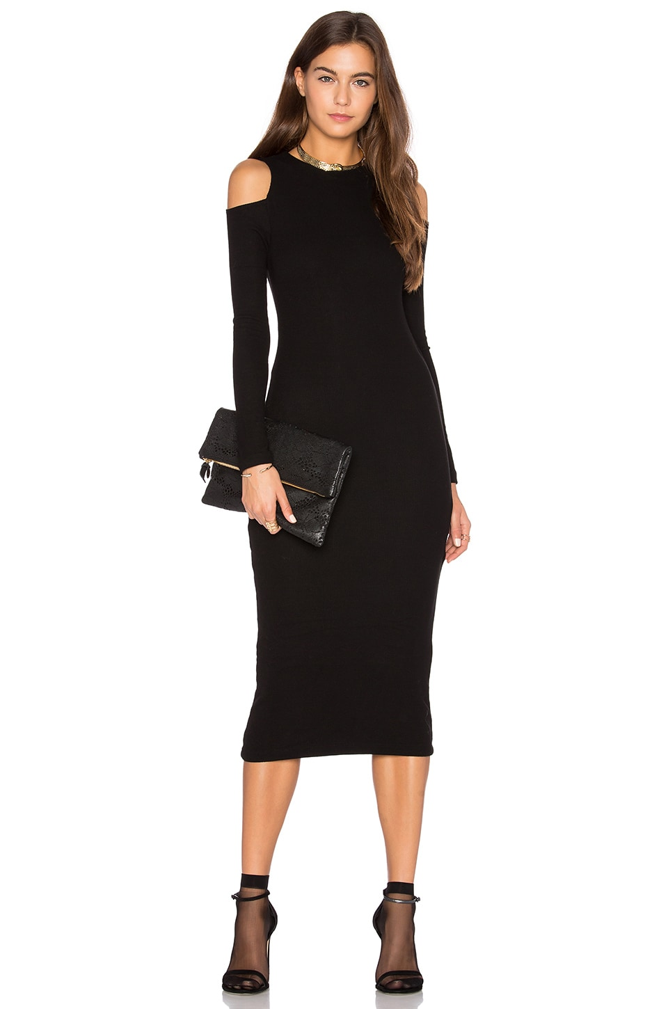 GETTINGBACKTOSQUAREONE The Cold Shoulder Dress in Black