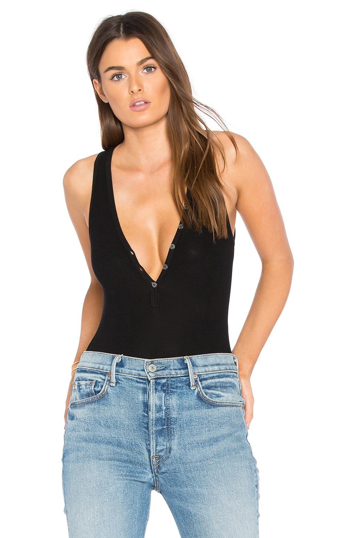 GETTINGBACKTOSQUAREONE Black Button Front Bodysuit
