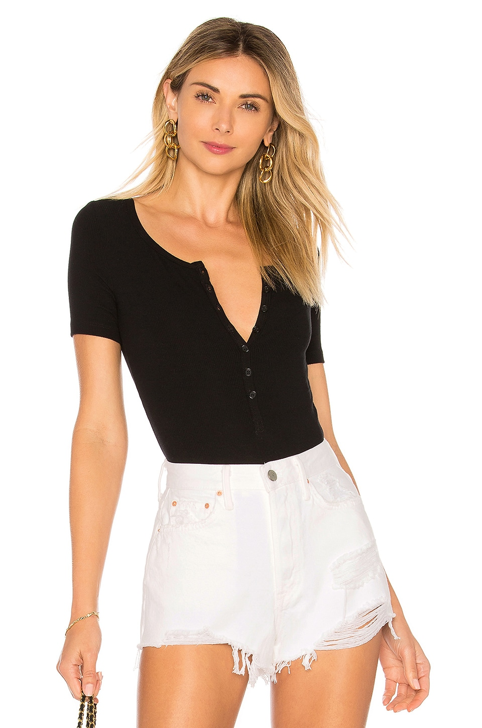 GETTING BACK TO SQUARE ONE Henley Bodysuit in Black
