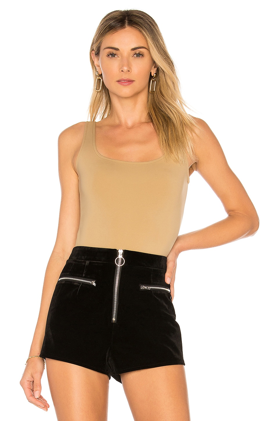 GETTING BACK TO SQUARE ONE Square Neck Bodysuit in Tan