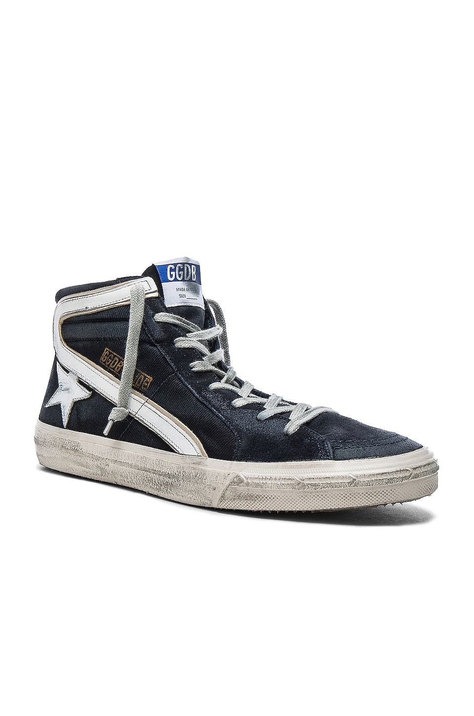 Golden Goose Suede Slide Sneakers in Navy Denim