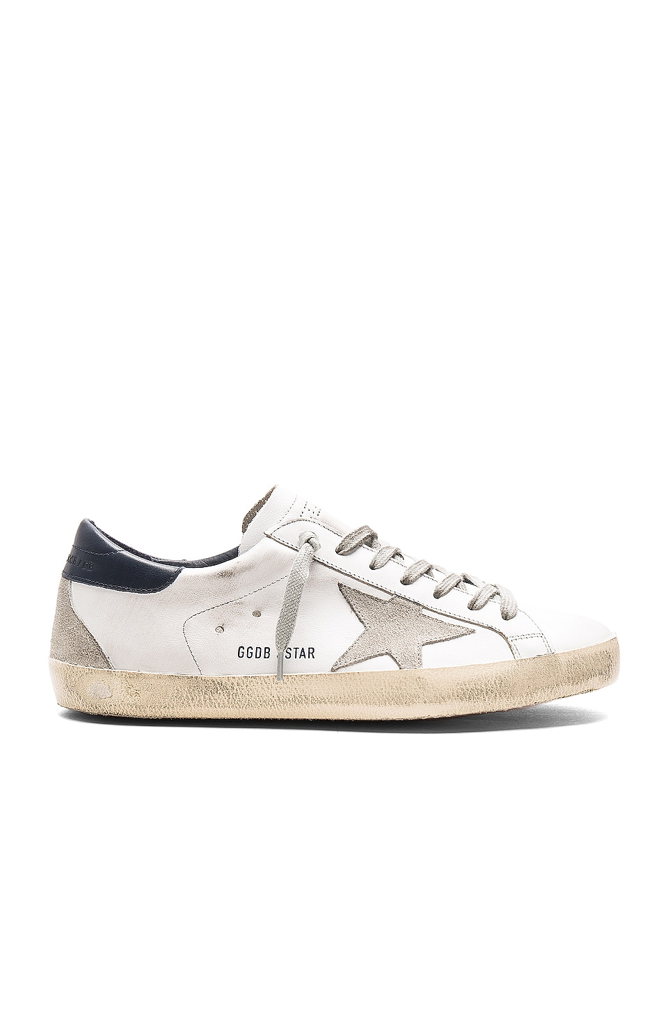Golden Goose Leather Superstar Low Sneakers in White & Blue