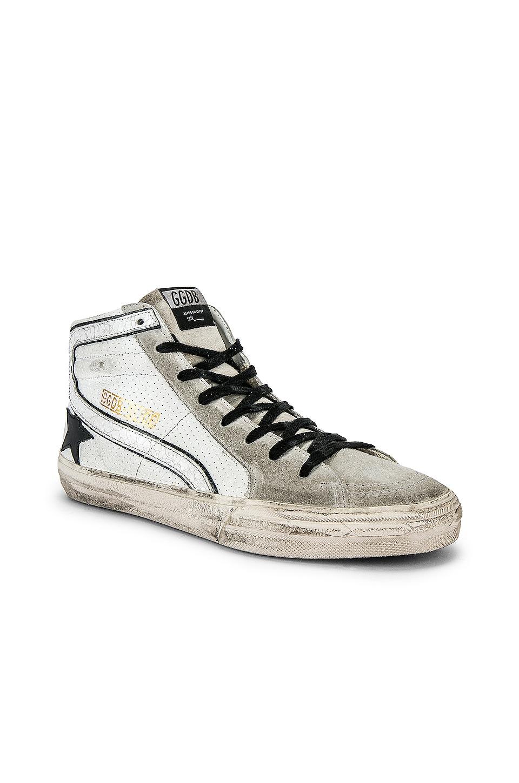 Golden Goose Slide Hi-Top Sneaker in White & Black