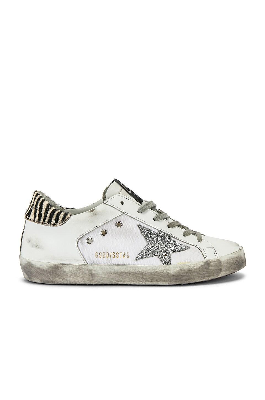 Golden Goose Superstar Sneaker in White & Silver Glitter